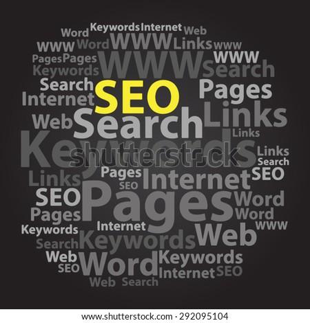 Text cloud. Seo wordcloud. Typography concept. Vector illustration. - stock vector