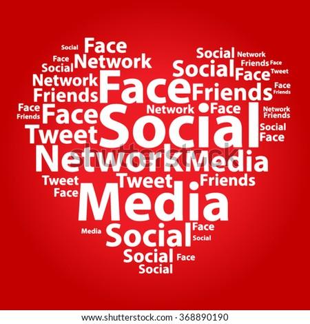 Text cloud. Social media wordcloud. Typography concept. Vector illustration. - stock vector