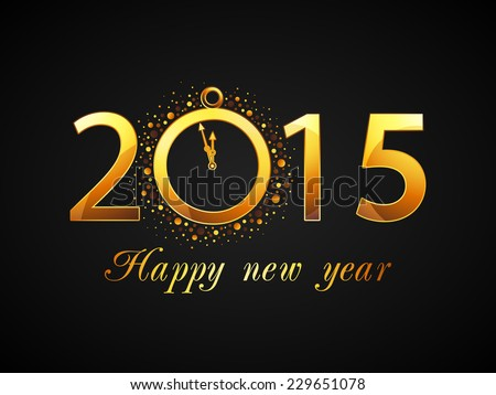 Text design of 2015 with clock showing almost twelve o'clock for welcome of Happy New Year. - stock vector