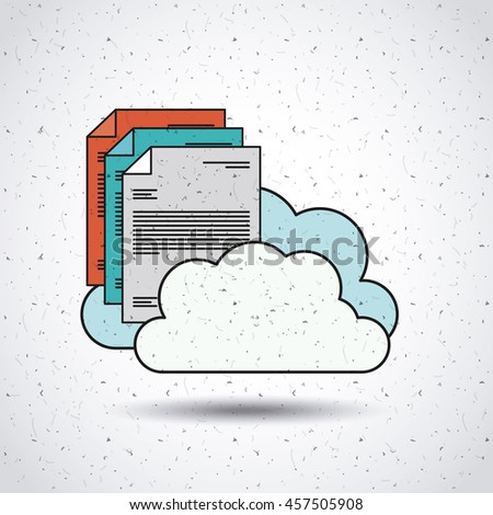 text document with clouds   isolated icon design, vector illustration  graphic - stock vector