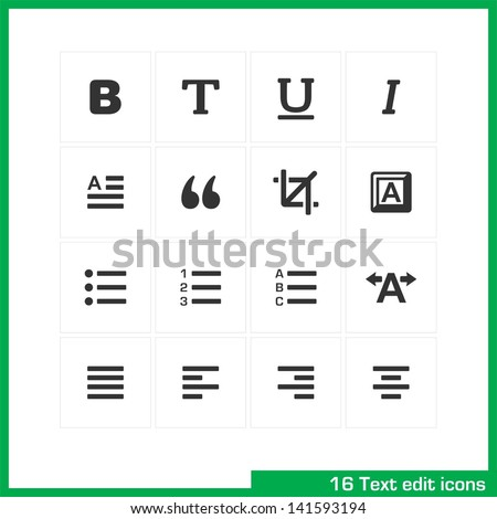 Text edit icon set. Vector white pictograms for web, mobile, business: bold, normal, italic, font, ubderline, letter, cut, keyboard, language, page, kerning, numder, - stock vector