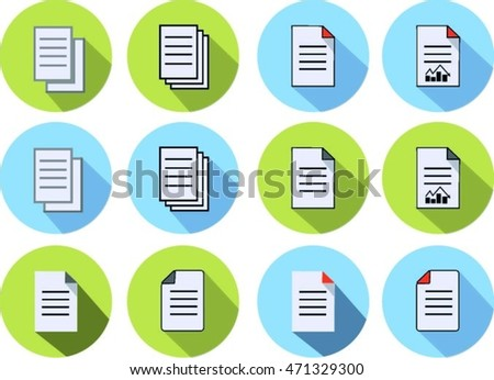 text file document icon styles blue and green