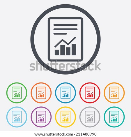 Text file sign icon. Add File document with chart symbol. Accounting symbol. Round circle buttons with frame. Vector - stock vector