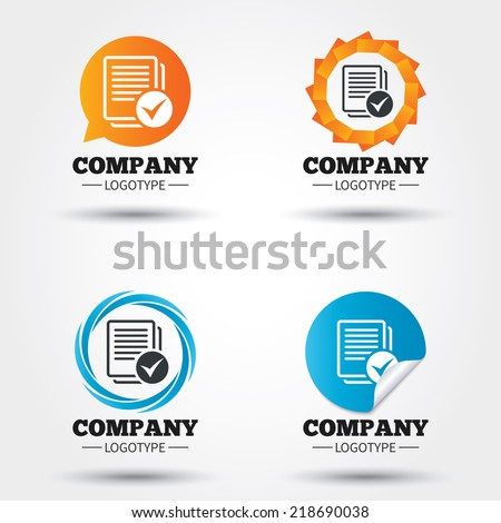 Text file sign icon. Check File document symbol. Business abstract circle logos. Icon in speech bubble, wreath. Vector - stock vector