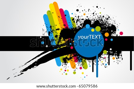 text frame with stains and rainbow - stock vector