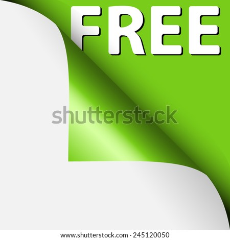 Text free under curled corner, on green paper - stock vector