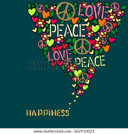 Text Happiness Love Peace Pacifism Symbol Stock Photo Photo Vector