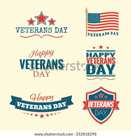 Text Happy Veterans Day set flag and stars vector illustration design banner or a stamp on white background EPS 10 - stock vector