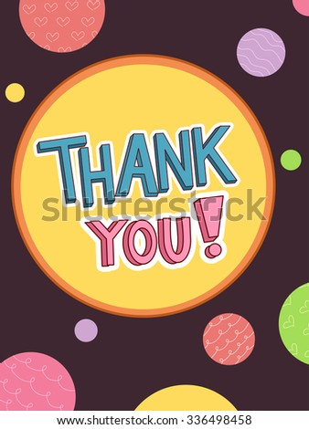 Text Illustration Featuring the Words Thank You Surrounded by Colorful Dots - stock vector