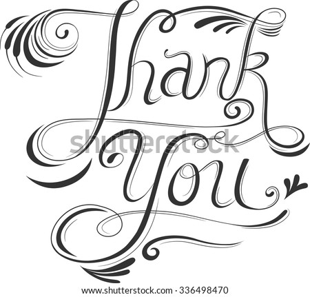 Text Illustration Featuring the Words Thank You Written in Calligraphy - stock vector