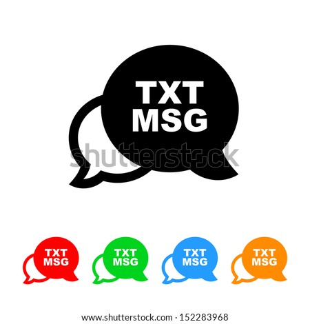 Text Message Icon with Color Variations - stock vector