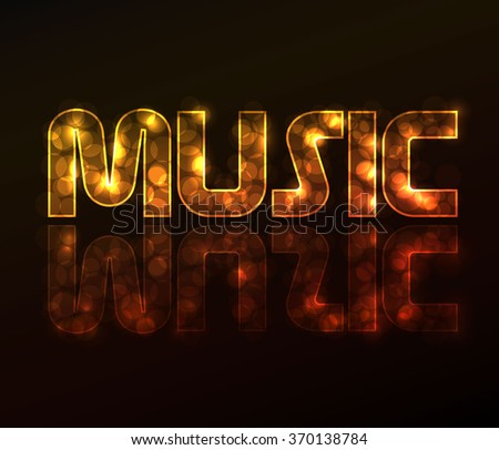 Text music made from plasma lights - stock vector