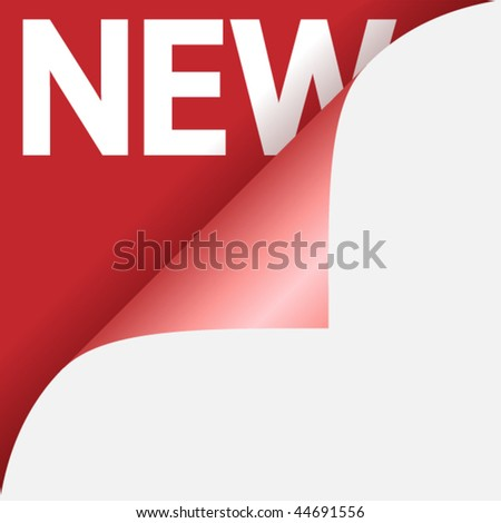 Text new on red background under curled glossy corner of paper - stock ...