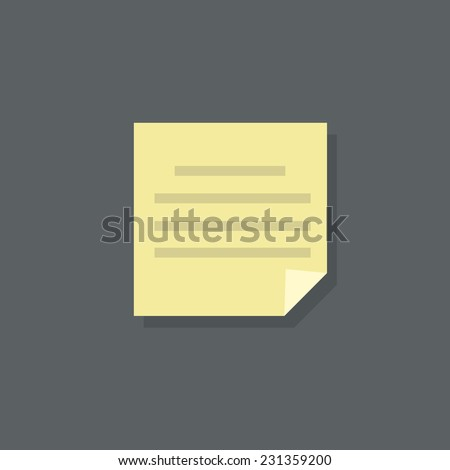text note paper document flat design vector illustration - stock vector