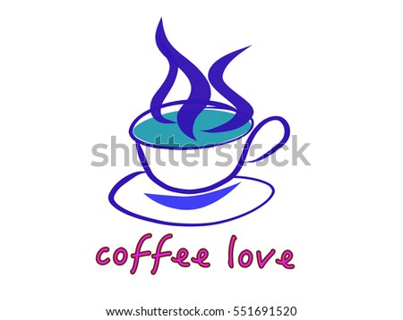 Text of coffee love and a cup of coffee with smoke. Hand drawing in doodle style. Cool colors tone effect. Vector eps10.