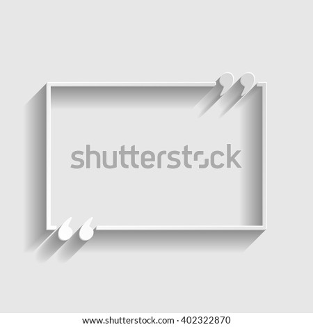 Text quote sign. Paper style icon with shadow on gray. - stock vector