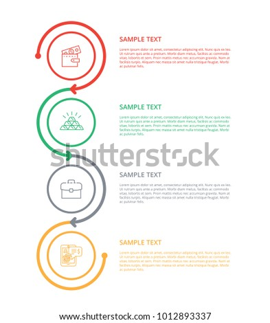 Text sample with varied labels colorful poster, vector illustration isolated on white background, color icons of gold, case and wallet, cute device