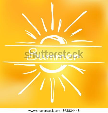 Text summer crossing sun - stock vector