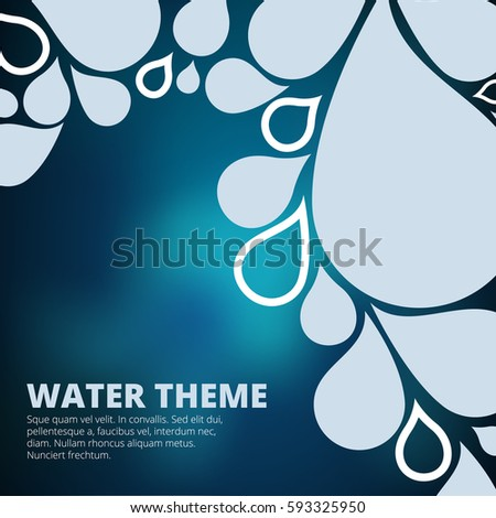 Text template with water drops