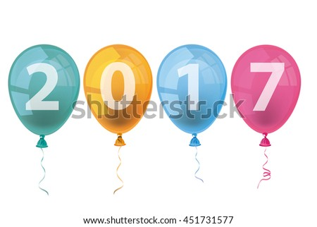 Text 2017 with colored balloons on a white background. Eps 10 vector file.