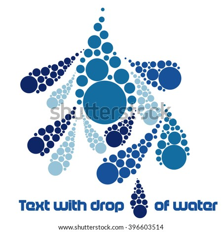 Text with drop of water - stock vector