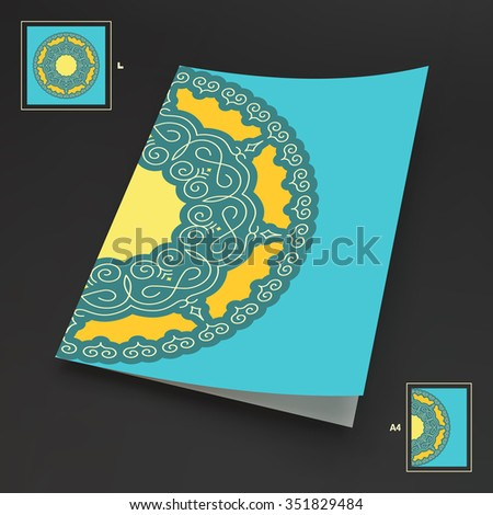 Textbook, Booklet or Notebook Mockup. Ethnic Circle Element. Orient Traditional Design. Lace Pattern. Mandala Round Ornament. Vector Fashion Illustration.