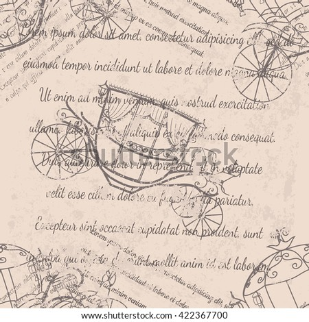 Textile design, wallpaper, faded text, coaches seamless pattern on beige background - stock vector