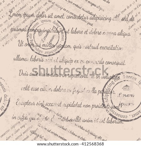 Textile design, wallpaper, faded text, stamps, old paper seamless pattern on beige background - stock vector
