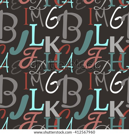 Textile design, wallpaper, multicolored letters, seamless pattern on dark gray background - stock vector