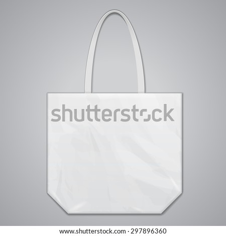 Textile Fabric Eco Plastic Bag Package White Grayscale. Illustration On Gray Background. Mock Up Template Ready For Your Design. Vector EPS10 - stock vector