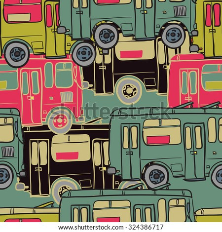 Textile seamless pattern of colored buses