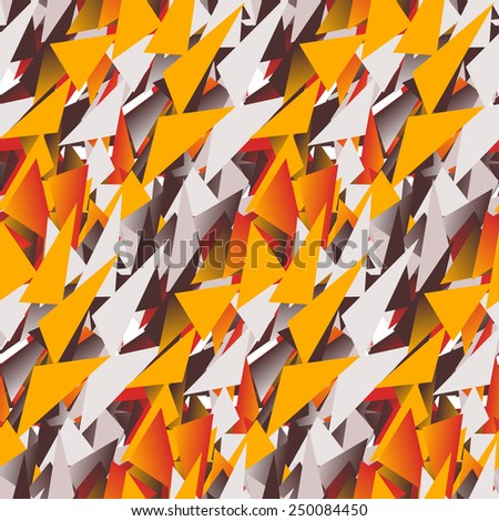 Textile seamless pattern of colored triangles in warm colors - stock vector