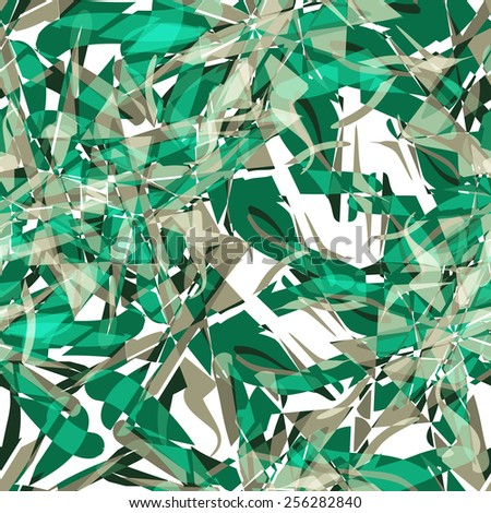 Textile seamless pattern of green abstract explosions - stock vector
