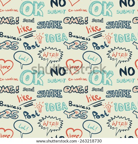Textile seamless pattern on the topic of Internet chat - stock vector