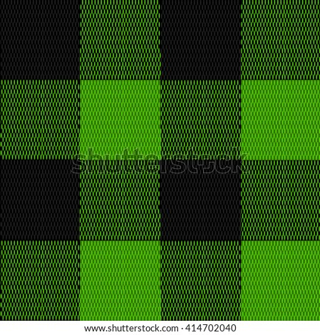 Textile seamless texture. Green and black plaid. VECTOR