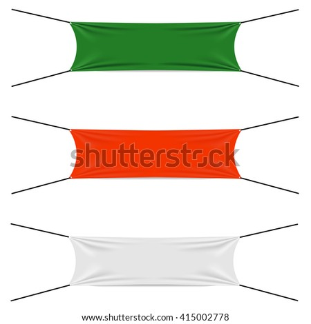Textile strips set, blank flags different colors, start or finish textile strip, red and green and white textile banners, vector - stock vector