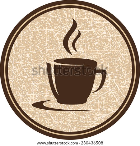 texture brown coffee cup icon in round frame - stock vector