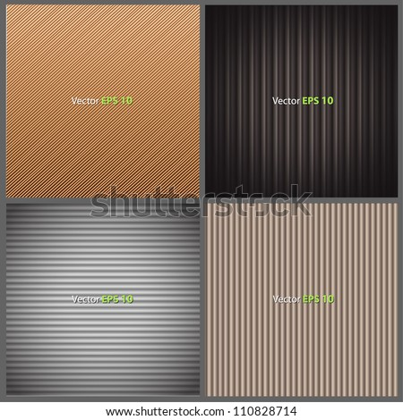 Texture brown leather, brown corrugated cardboard texture, and grey plastic texture. Collection images of vector background design. - stock vector