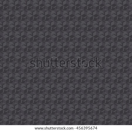 texture 3d illusion dark gray seamless pattern. vector illustration of repeatable background with stars and hexagon geometry form - stock vector