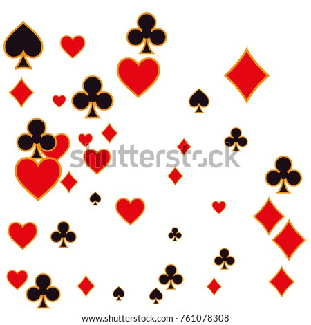 Texture depicting the chaotic characters in suits of playing cards.Vector illustration for print, textile, paper