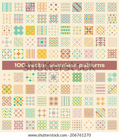 Texture for wallpaper,scrapbook, wrap, web page background. Set of vintage endless color geometric ornaments.