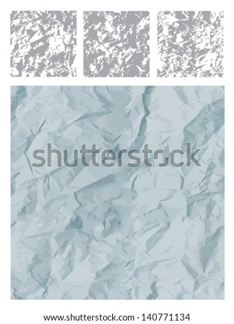 Texture images made from  crumpled paper. Can be used as a repeating patterns. - stock vector