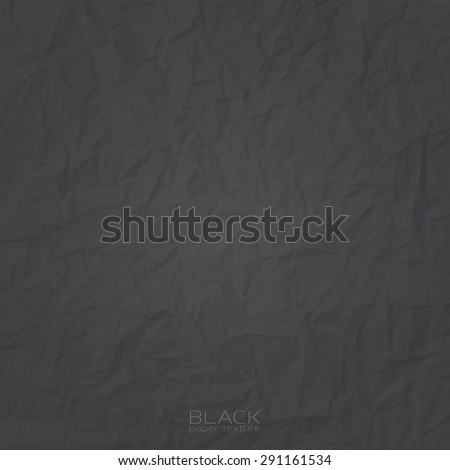 texture of black, crumpled paper. abstract vector background. - stock vector