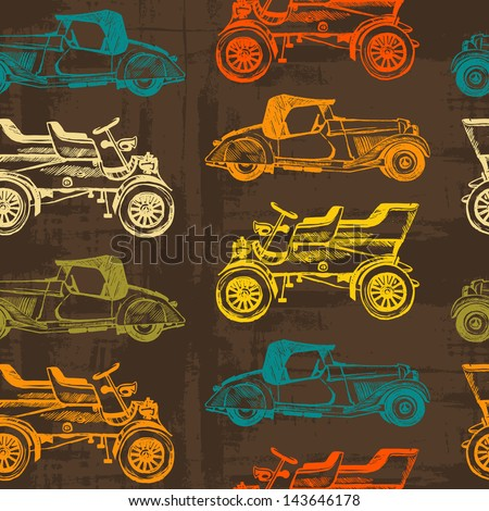 texture of the old paper. seamless texture vintage cars. Vector vintage car seamless pattern. ink stains and brush strokes. texture of the old paper - stock vector