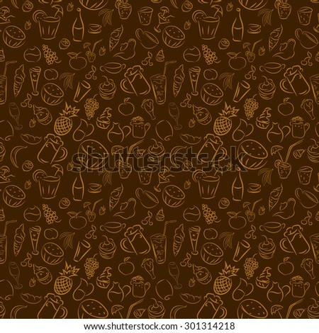 Texture seamless. Doodles cocktails and desserts, fruits, coffee, alcohol, bar, drink. Texture for bars, cafe or restaurant in sketch. Vector ice cream, juice, tea and beer. Light brown and dark brown  - stock vector