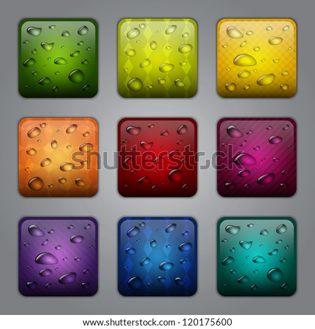 Textured application buttons with water drops - stock vector