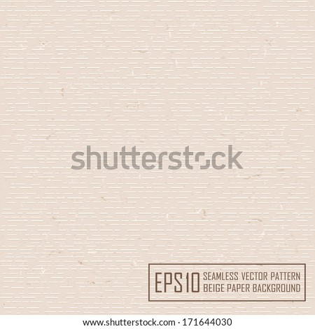 Textured beige paper with natural fiber parts. Seamless pattern. - stock vector