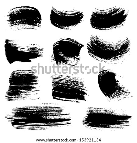 Textured brush strokes drawn a flat brush and ink  set 2 - stock vector