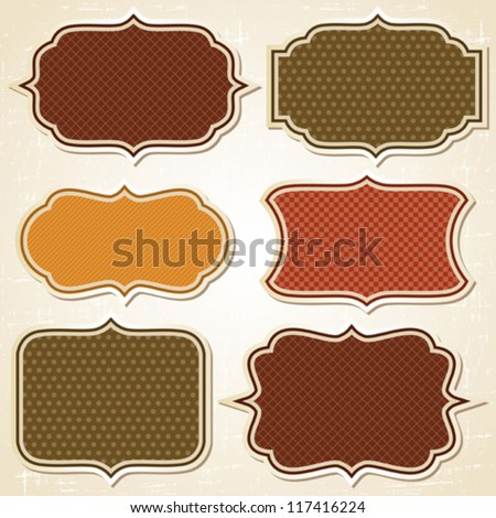 Textured labels and stickers set in retro style. - stock vector