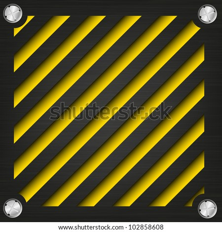 Textured metal surface with the screws on the bright striped background, abstract background of the technogeni